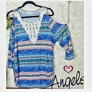Angels Cold Shoulder Tunic Top 1X